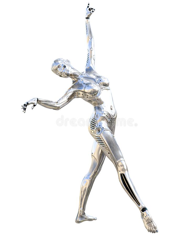 Femme de robot de danse Droid argenté brillant en métal Intelligence artificielle Art conceptuel de mode 3d réalistes rendent l'i illustration libre de droits
