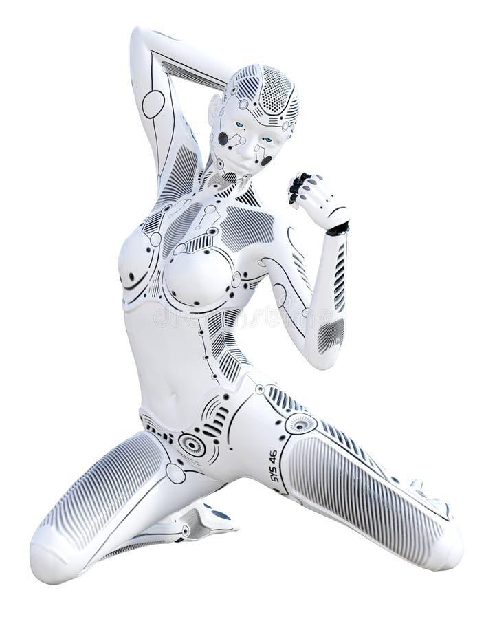 Femme de robot Droid en métal blanc Intelligence artificielle illustration stock