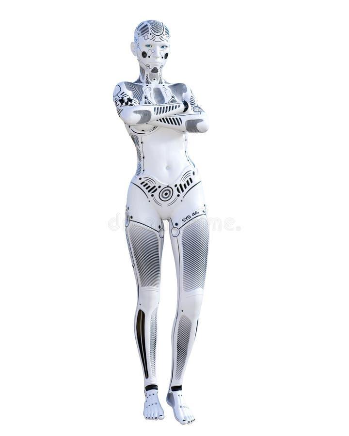 Femme de robot Droid en m?tal illustration stock