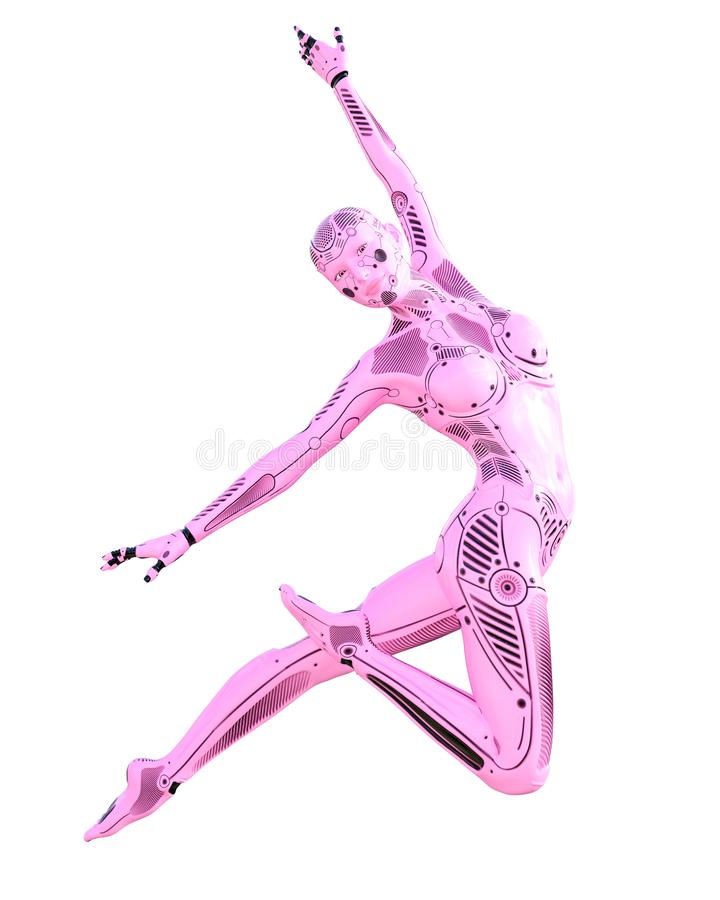 Femme de robot de gymnaste de danse Droid rose en m?tal illustration de vecteur