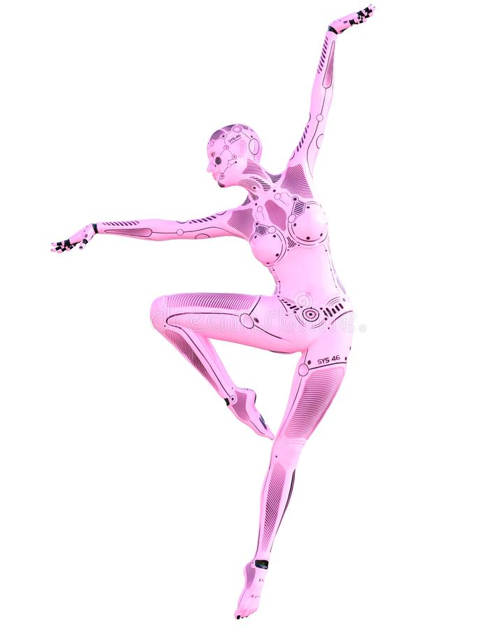 Femme de robot de gymnaste de danse Droid rose en m?tal illustration libre de droits