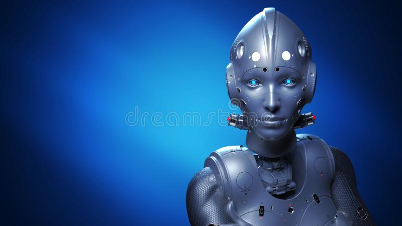 Femme de robot, femme de la science fiction illustration libre de droits