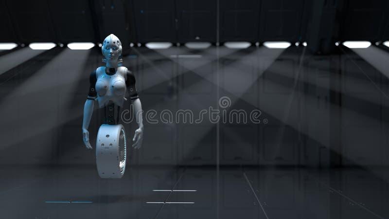 Femme de robot, femme de la science fiction illustration stock