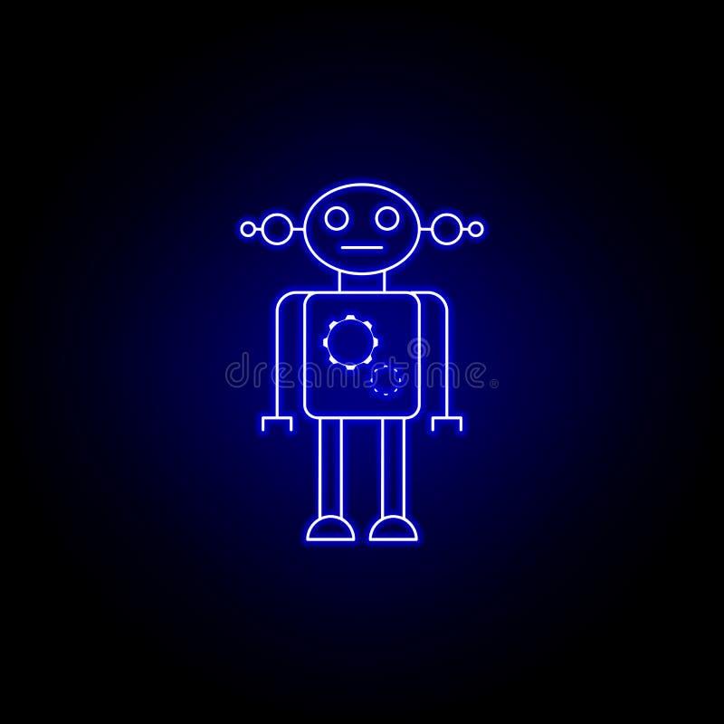 femme de robot, ligne icône de vitesse dans le style au néon bleu Des signes et les symboles peuvent ?tre employ?s pour le Web, l illustration libre de droits