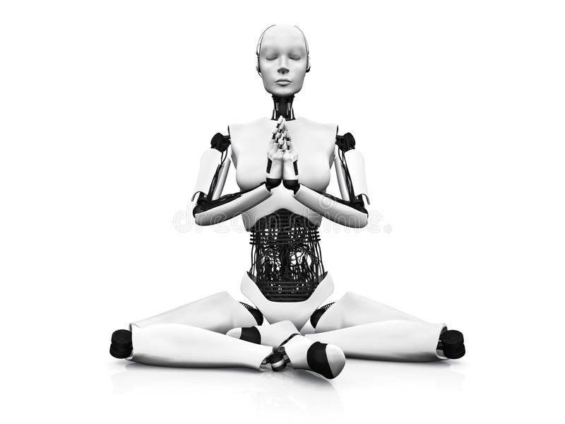 Femme de robot méditant. illustration de vecteur
