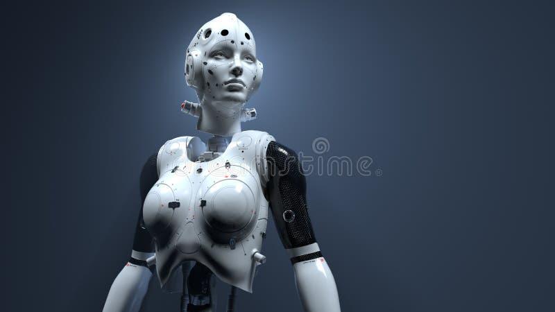 Femme de robot, monde numérique de femme de la science fiction de l'avenir des réseaux neurologiques et l'artificiel images stock