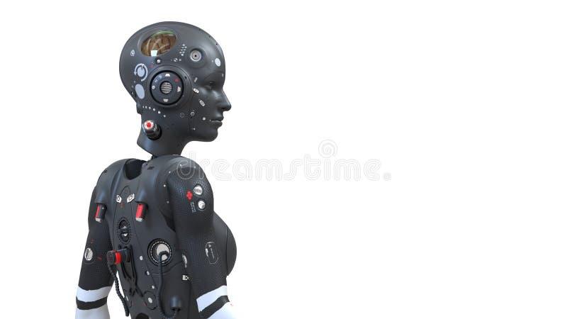 Femme de robot, monde numérique de femme de la science fiction de l'avenir des réseaux neurologiques illustration libre de droits