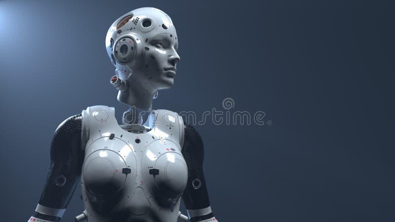Femme de robot, monde num?rique de femme de la science fiction de l'avenir des r?seaux neurologiques et l'artificiel images libres de droits