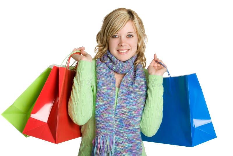 Femme de sacs à provisions photos stock