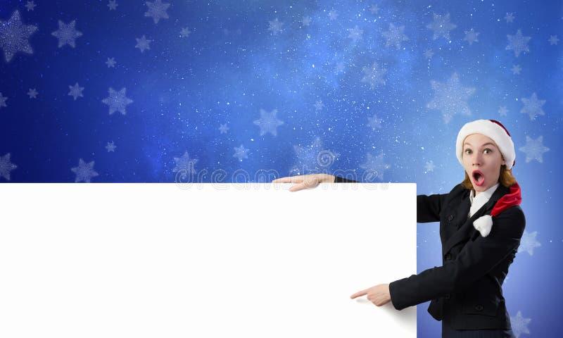 Femme de Santa avec la bannière photographie stock libre de droits