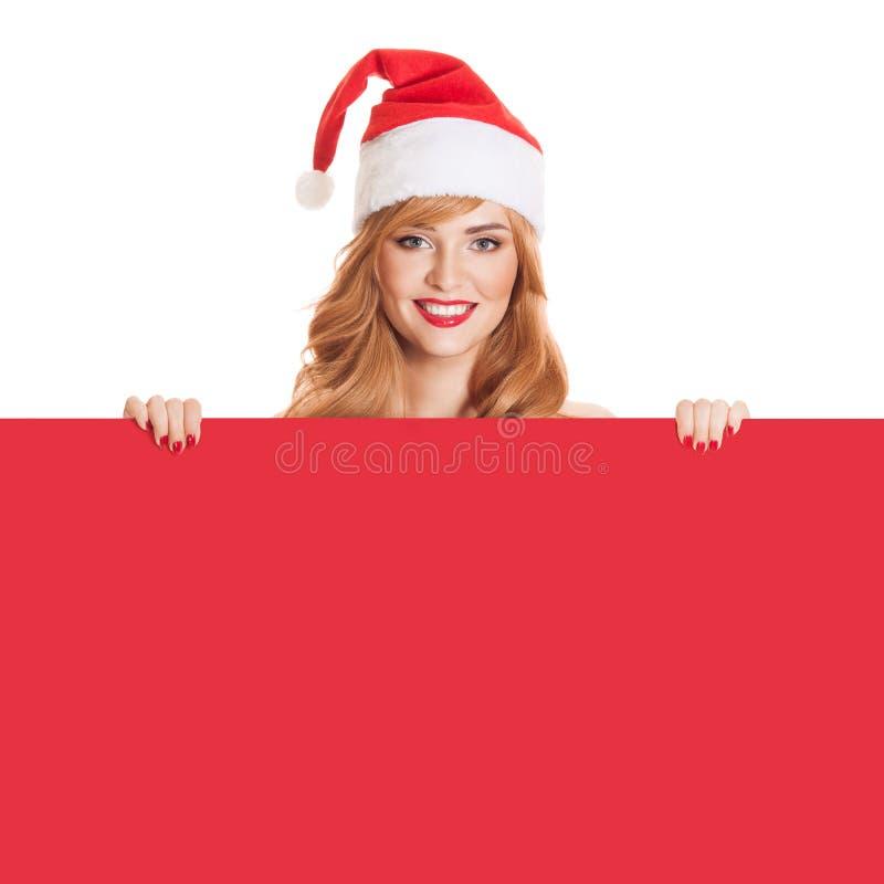 Femme de Santa et bannière de papier rouge images libres de droits