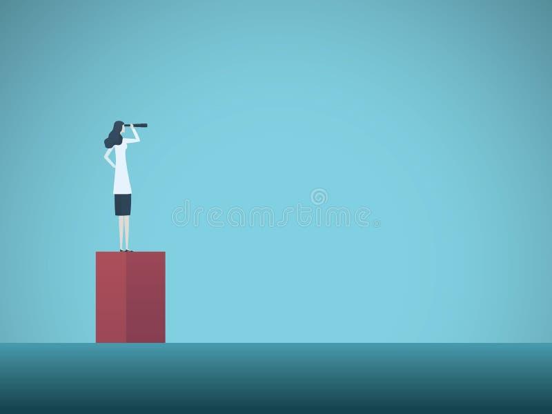 Femme de scientifique regardant au del? du concept de vecteur d'horizon Symbole de l'accomplissement, motivation, ambition, aspir illustration stock