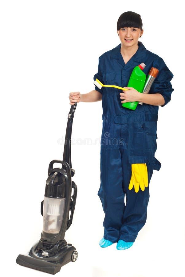 Femme de service de nettoyage photographie stock libre de droits
