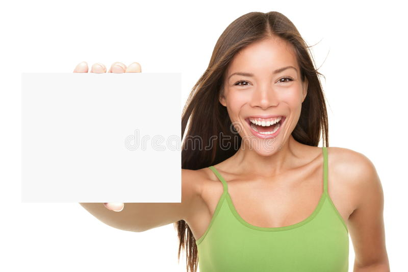 Femme de signe de carte de cadeau photos stock