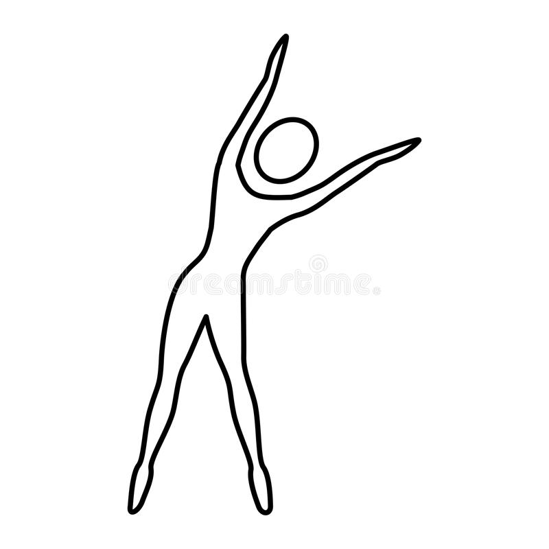 femme de silhouette étirant la droite latérale illustration stock
