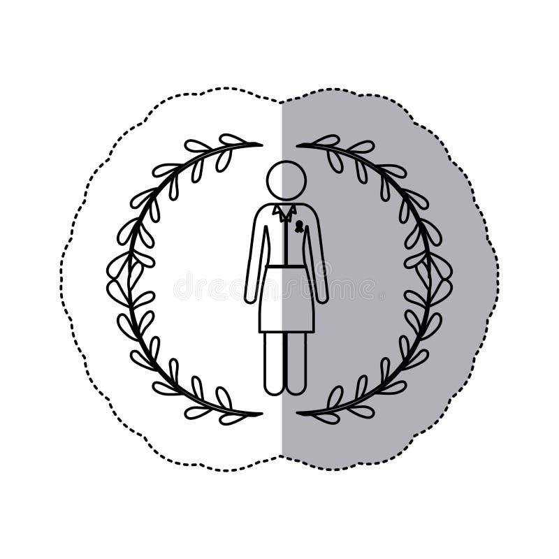 Femme de silhouette d'autocollant avec le costume formel avec le ruban du cancer du sein illustration libre de droits