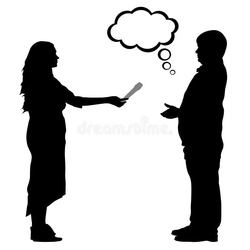 Femme de silhouette d'entrevue et homme, vecteur illustration stock