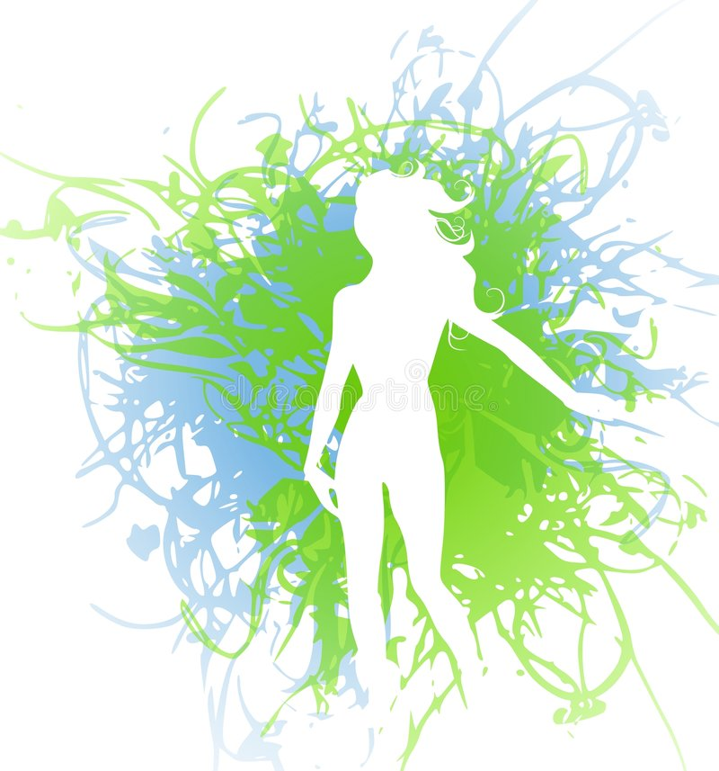 Femme de silhouette sur l'éclaboussure grunge illustration libre de droits