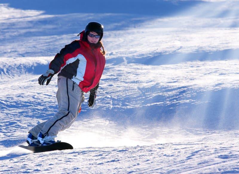 femme de snowboarder image libre de droits