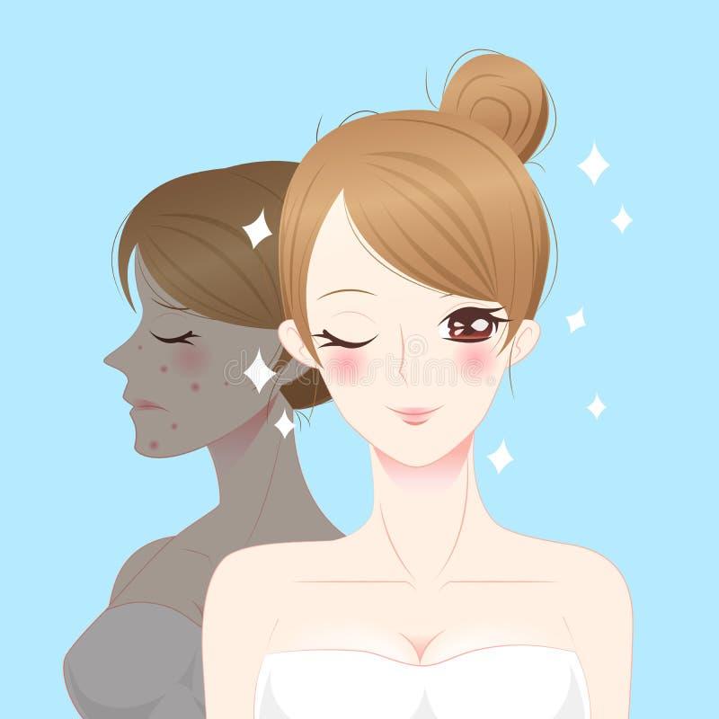 Femme de soins de la peau de bande dessinée de beauté illustration libre de droits
