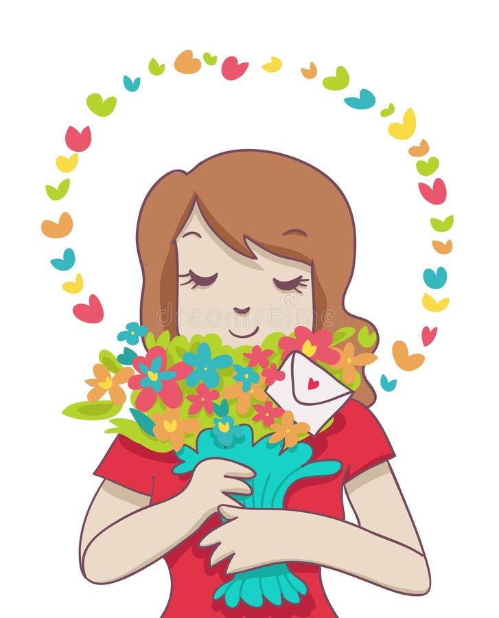 Femme de sourire avec le bouquet coloré et l'aura illustration de vecteur