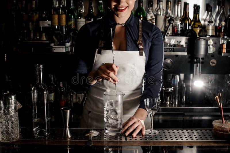 Femme de sourire de barman avec l'encolure profonde remuant le cocktail photos libres de droits