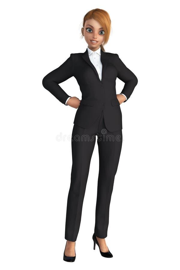 Femme de sourire d'affaires avec ses mains sur ses hanches illustration de vecteur