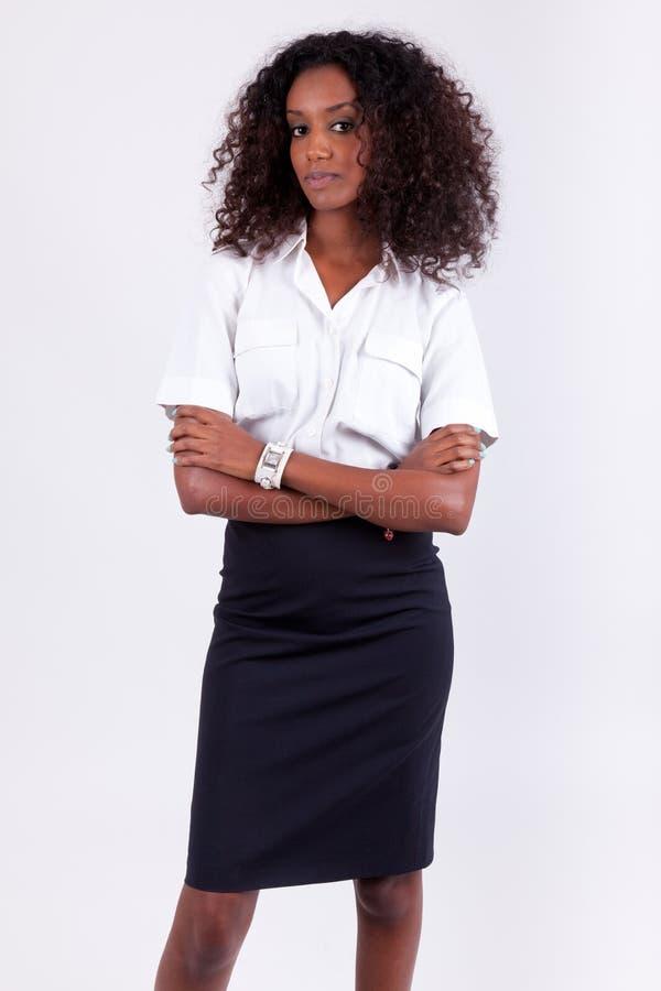 Femme de sourire d'affaires d'afro-américain image stock