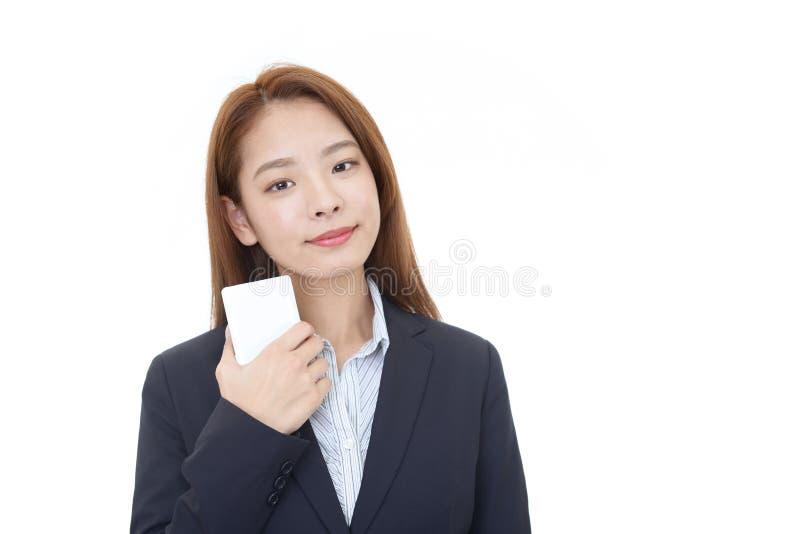 Femme de sourire d'affaires image stock