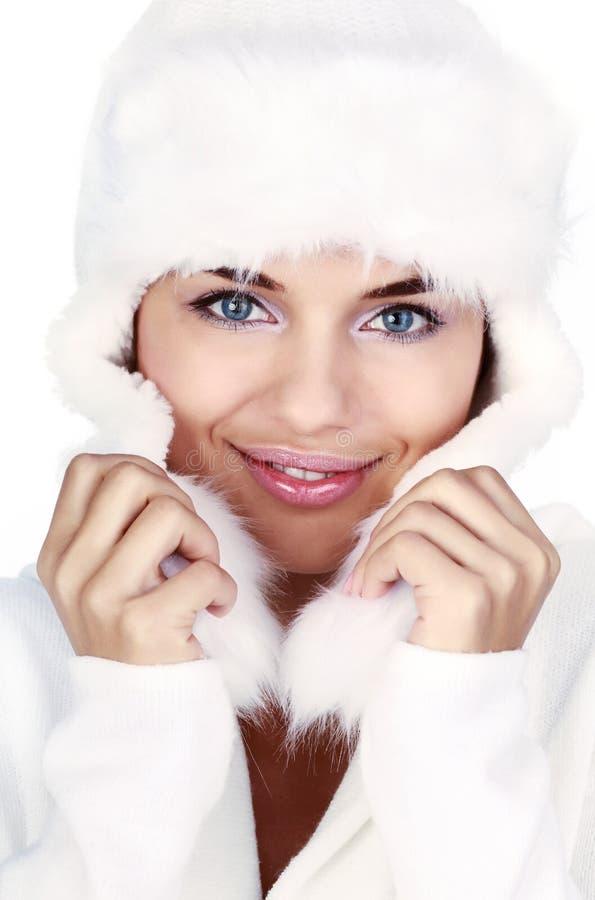 Femme de sourire de l'hiver. œil bleu image libre de droits