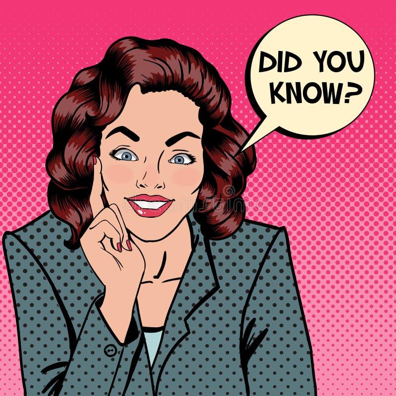Femme de sourire Expression de bulle vous avez su illustration de vecteur