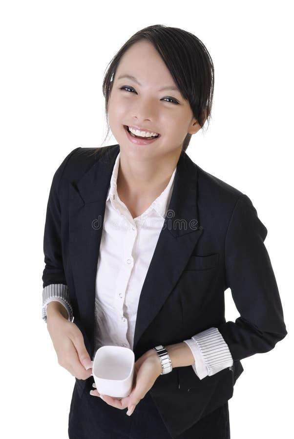 Femme de sourire heureuse d'affaires photos stock