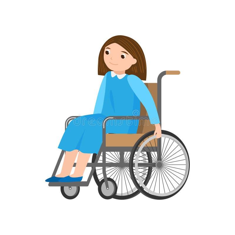 Femme de sourire mignonne dans la robe bleue se déplaçant dans le fauteuil roulant illustration stock
