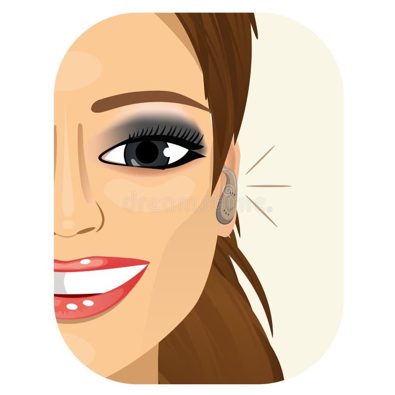 Femme de sourire portant une prothèse auditive illustration stock
