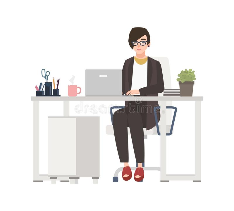 Femme de sourire travaillant au bureau Commis féminin habillé dans des vêtements intelligents se reposant dans la chaise au burea illustration de vecteur