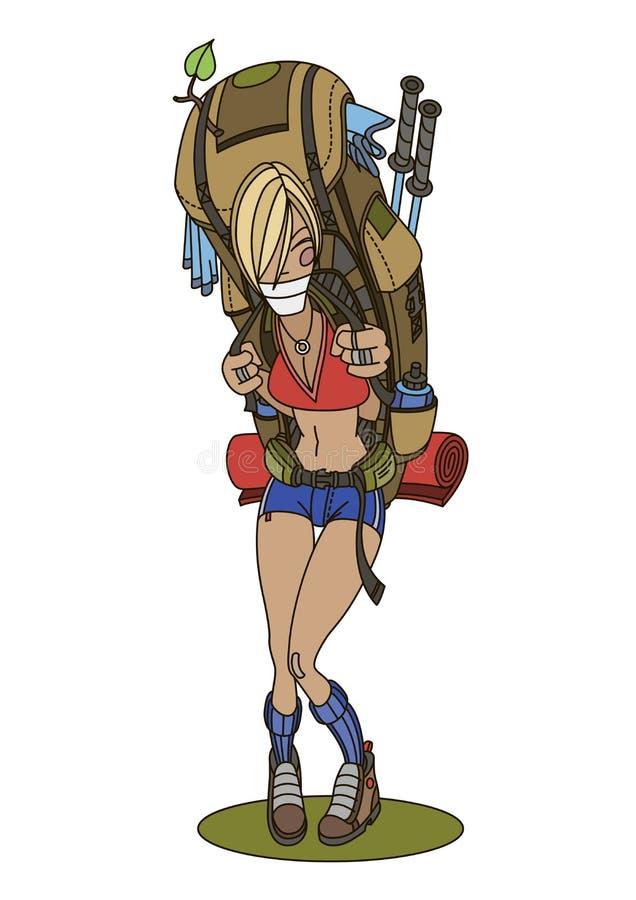 Femme de sourire trimardant avec le grand sac à dos illustration de vecteur