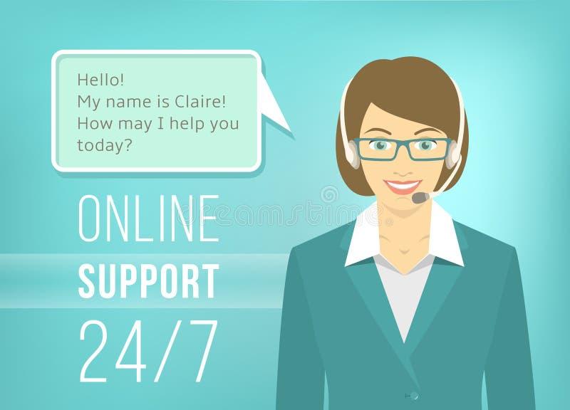 Femme de soutien de centre d'appel avec des écouteurs illustration stock