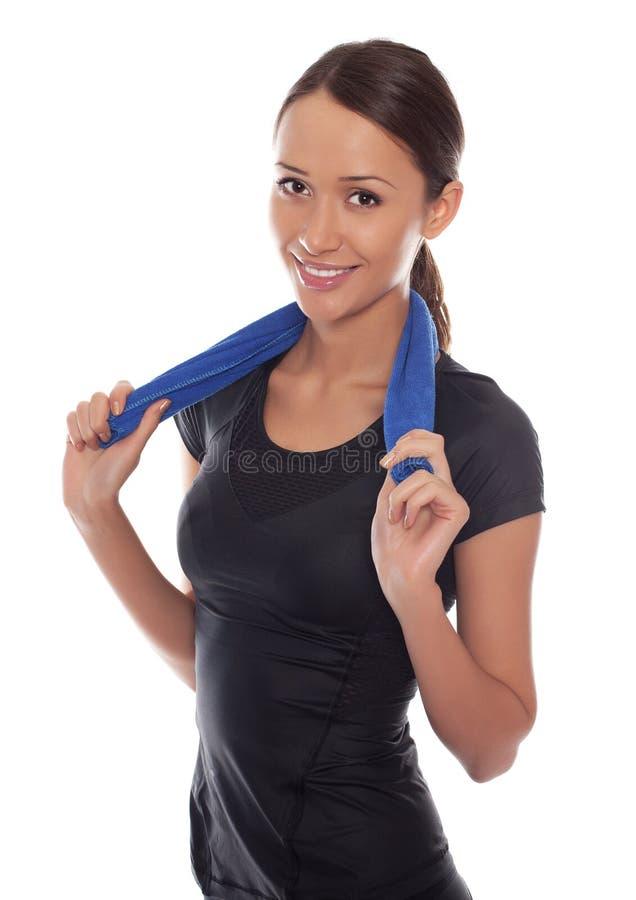 femme de sport avec l'essuie-main image libre de droits