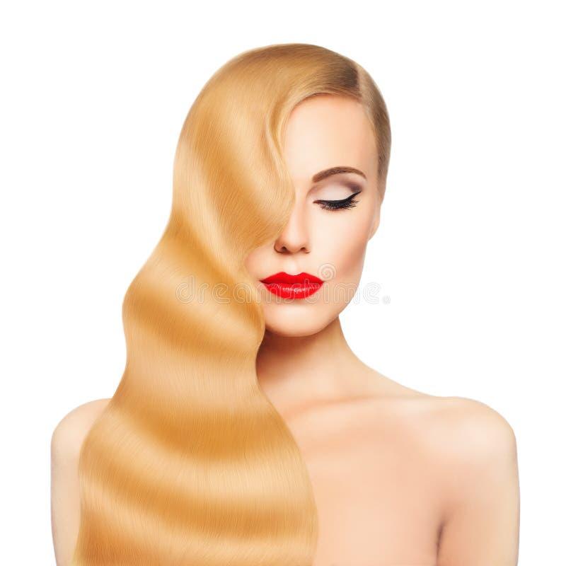 Femme de station thermale Fille de cheveux blonds d'isolement Peau saine images libres de droits