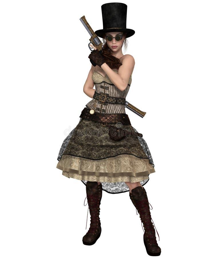 Femme de Steampunk avec le chapeau de tuyau de poêle et deux revolvers illustration libre de droits
