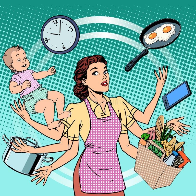 Femme de succès de famille de temps de travail de femme au foyer illustration stock