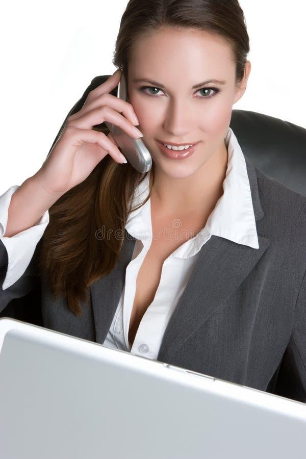 Femme de téléphone d'ordinateur photographie stock libre de droits
