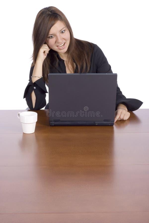 femme de table de surprise de cahier image libre de droits