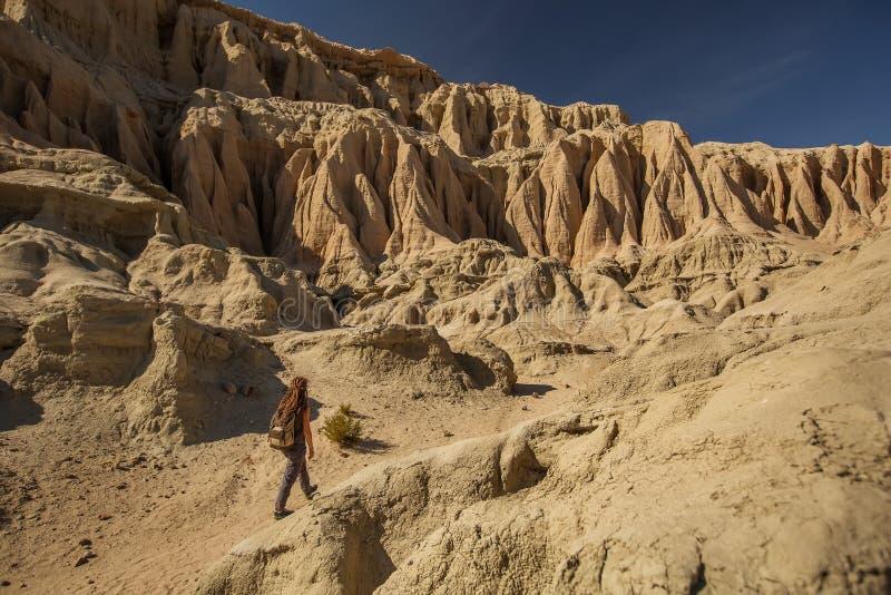 Femme de touristes dans le désert image libre de droits