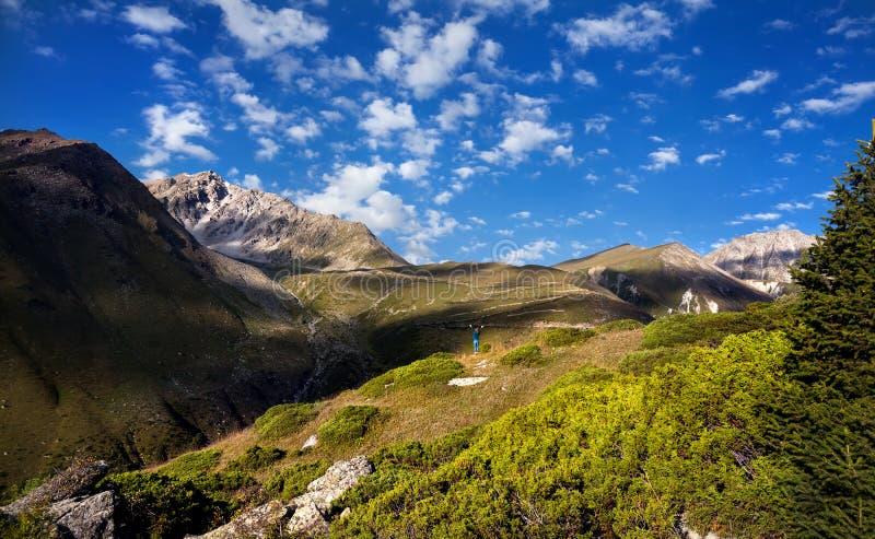 Femme de touristes dans les montagnes image libre de droits