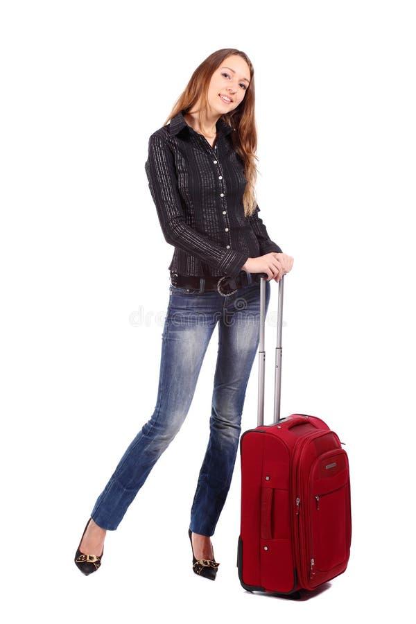 Femme de touristes heureuse images stock