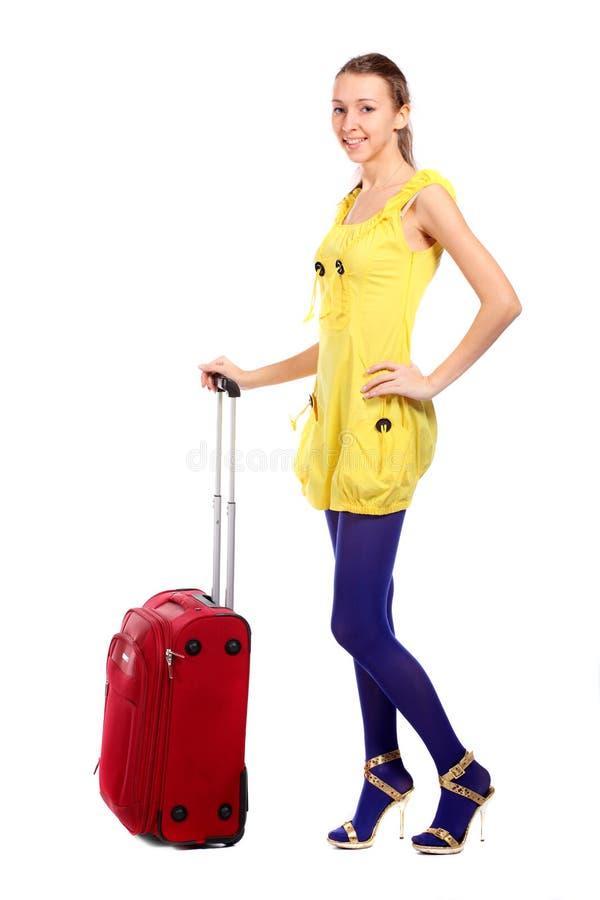 Femme de touristes heureuse image libre de droits