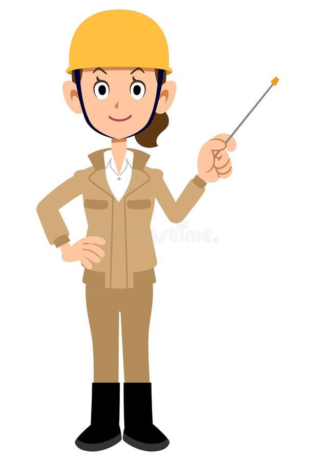 Femme de travailleur de chantier de construction avec les vêtements de travail beiges de tige d'indicateur illustration libre de droits