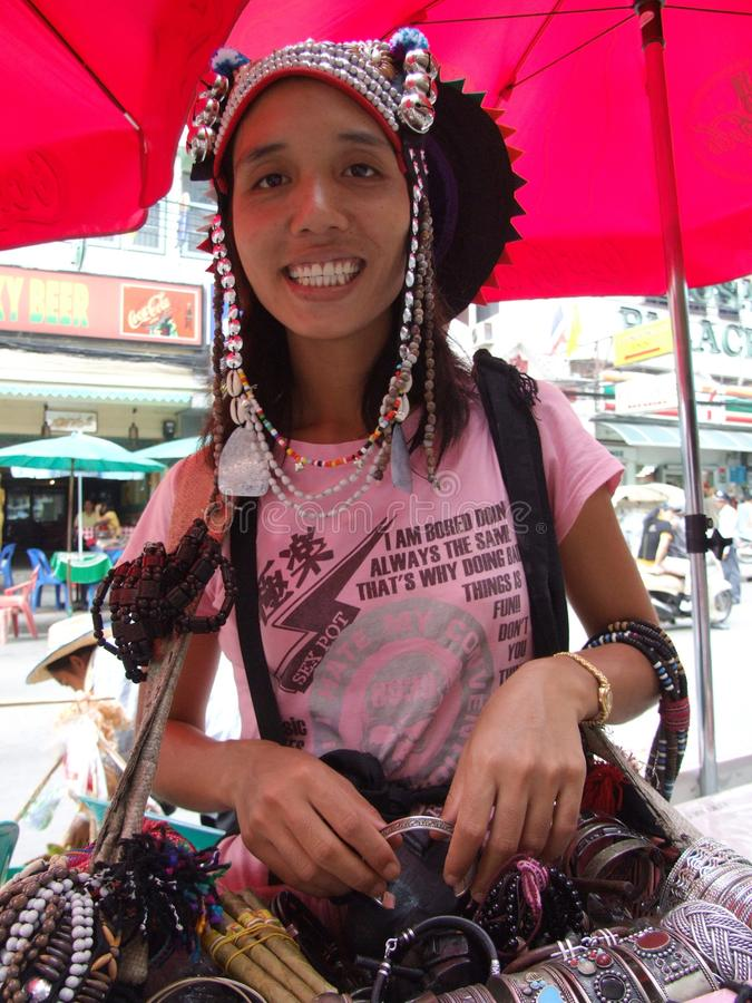 Femme de tribu de côte, Thaïlande. photographie stock
