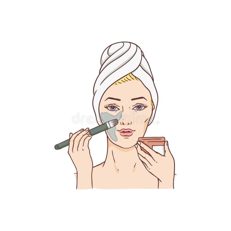 Femme de vecteur appliquant le masque facial, traitement de visage illustration de vecteur